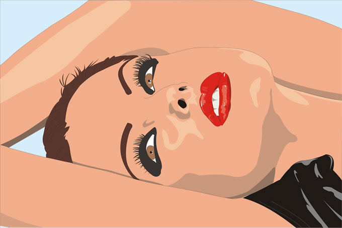 横たわる女性のイラスト